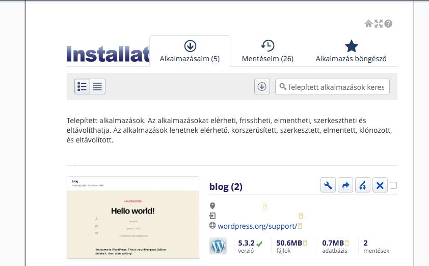Wordpress telepítés befejezve