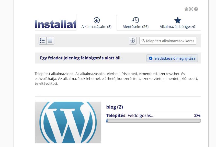 Wordpress telepítés folyamatban