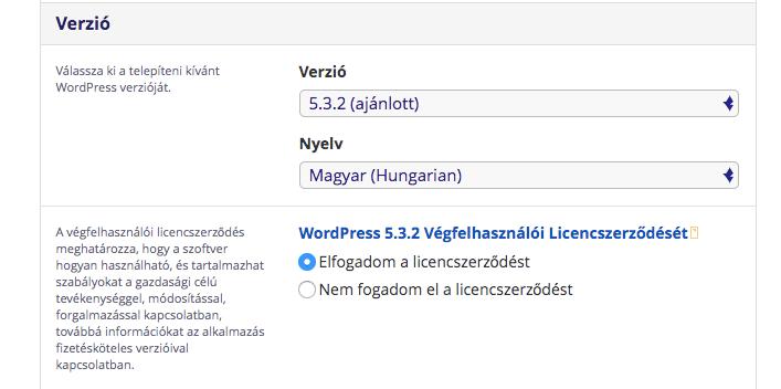Wordpress verzió