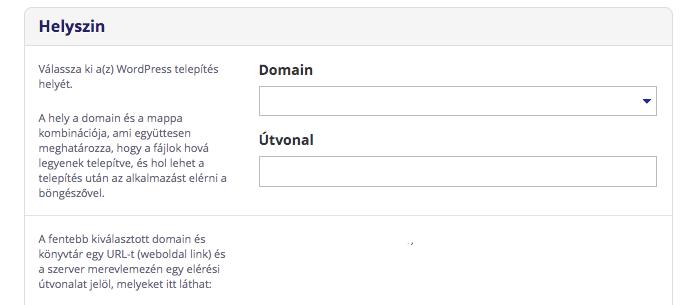 domain beállítás