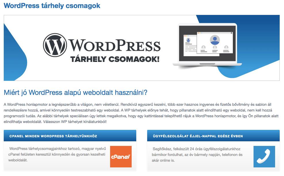 előre telepített WordPress