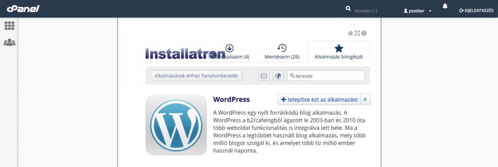 Wordpress automatikus telepítés