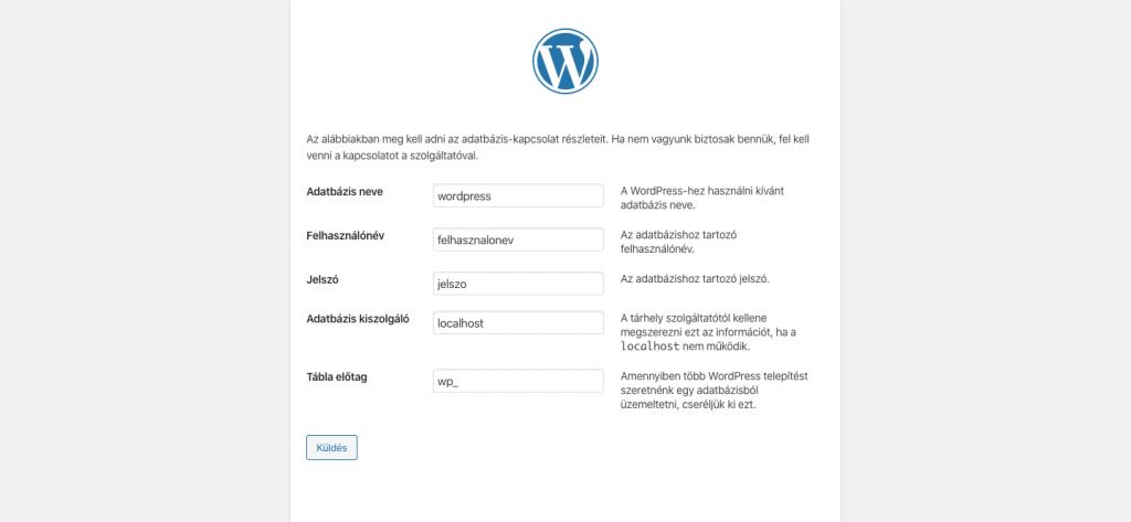 Wordpress kézi telepítés
