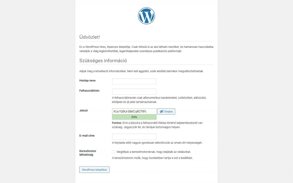 Wordpress öt perces telepítő