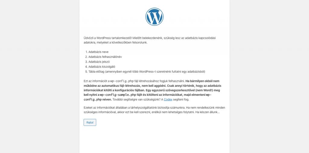 Wordpress telepítés böngészőben