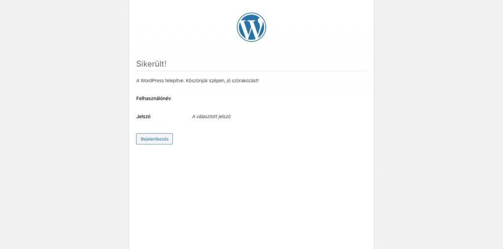 Wordpress telepítés sikeres
