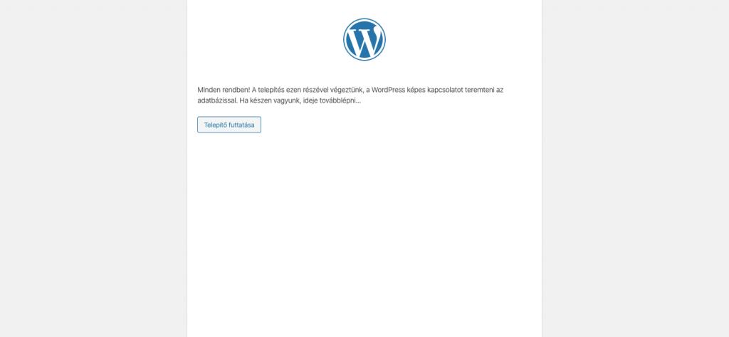 Wordpress telepítő futtatása