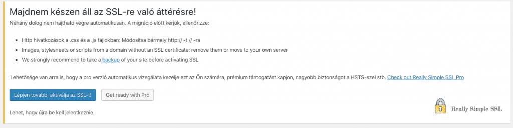 SSL tanúsítvány aktiválás