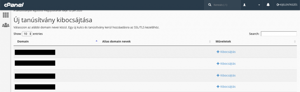 SSL tanúsítvány kibocsájtás