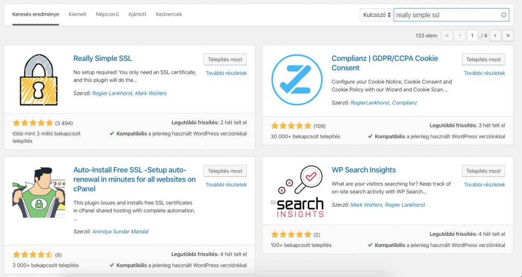 SSL WordPress bővítmény