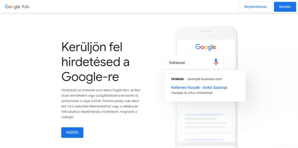 Google regisztráció