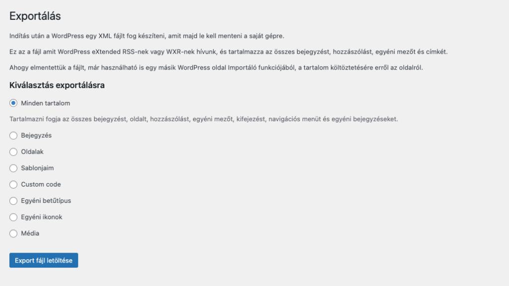 WordPress adatbázis mentés